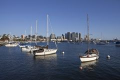 San Diego Bay. Downtown towers and peaceful marina in scenic San Diego, California royalty free stock photography