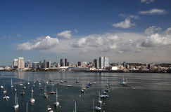 San Diego Bay. A look back at San Diego skyline crossing the bridge to Coronado stock photos