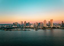 San Diego bay area cityscape with high buildings and the ocean royalty free stock images