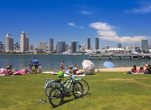 A San Diego Bay and Downtown View from SDG&E Park Royalty Free Stock Images