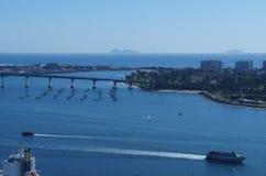 San Diego Bay en Coronado-Brug Stock Afbeelding