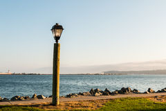 San Diego Bay with Lamp Post on Harbor Island royalty free stock photos