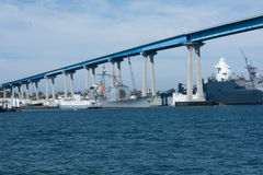 San Diego bay with navy ships and Coronado Bay Bridge Royalty Free Stock Photos
