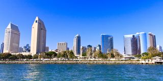 San Diego Bay in the Summer. City architecture surrounding San Diego Bay in the Summer stock photo
