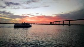 San Diego Bay. Sunset at the bay stock photography