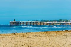 San Diego Beach e pilastro Fotografia Stock