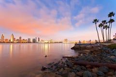 San Diego bij nacht Stock Fotografie