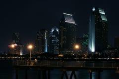 San Diego bij Nacht Stock Afbeelding