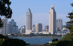 San Diego Buildings. View of Downtown San Diego from Coronado Island Royalty Free Stock Photos