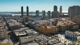 High Angle Aerial View of San Diego Skyline. SAN DIEGO, CA - Circa February, 2017 - A high angle view of the San Diego skyline. Coronado Island is in the stock video footage