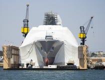 SAN DIEGO, CA - construcción en el buque de marina de guerra Foto de archivo