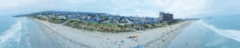 SAN DIEGO, CA - JULY 31, 2017: Palisades Park Beach aerial panoramic view. The beach attracts a lot of surfers in the area royalty free stock image