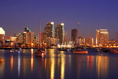 San Diego ca nocy linia horyzontu Obrazy Royalty Free