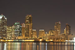 San Diego CA skyline at night Stock Photos