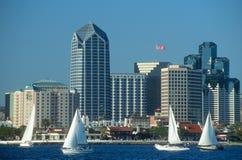 San Diego, CA skyline w/sailboats royalty free stock photography