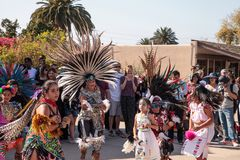 Aztec dancers celebrate Dia de los Muertos Stock Photo