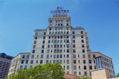 El Cortez Hotel in San Diego stock images