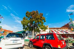 Cars parked in India street in Little Italy. San Diego, CA, USA - November 05, 2016: Cars parked in India street in Little Italy Stock Photography