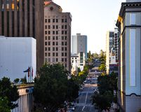 Beautiful rising street in San Diego near the Westfield Horton P stock images
