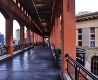 Hall way in Westfield Horton Plaza Shopping Center. SAN DIEGO/CALIFORNIA - AUGUST 17, 2017: Hall way in Westfield Horton Plaza Shopping Center in San Diego Stock Photos