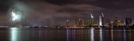 San Diego California City Skyline and Fireworks Celebration from. San Diego California City Skyline at Night and Fireworks Celebration Observed from Coronado Royalty Free Stock Photography