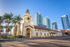 Santa Fe Depot. SAN DIEGO, CALIFORNIA - FEBRUARY 26, 2016: Santa Fe Depot in downtown San Diego. The building dates from 1915 stock image