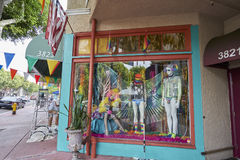 SAN DIEGO, CALIFORNIA - JULY 13, 2017: local business are supporting and getting ready for the annual LGBT Pride Festival. A local costume and designer clothing royalty free stock images