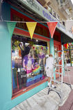 SAN DIEGO, CALIFORNIA - JULY 13, 2017: local business are supporting and getting ready for the annual LGBT Pride Festival. A new paint scheme is in the making stock photo