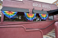 SAN DIEGO, CALIFORNIA - JULY 13, 2017: local business are supporting and getting ready for the annual LGBT Pride Festival. One of Hillcrest`s favorite and stock images
