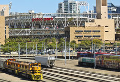 A Metropolitan Transit System Center and Petco Park in San Diego Royalty Free Stock Photography