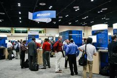 Booth of Microsoft at exhibition in frame of Microsoft Convergence Royalty Free Stock Images