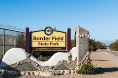 Entrance sign to Border Field State Park in San Diego. SAN DIEGO, CALIFORNIA - NOVEMBER 4, 2017:  Sign at the entrance to Border Field State Park, the Royalty Free Stock Photography