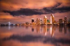 San Diego California skyline and bay seen at night royalty free stock photos