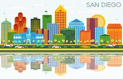 San Diego California Skyline with Color Buildings, Blue Sky and Royalty Free Stock Image
