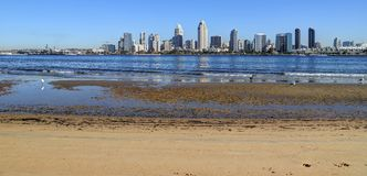 San Diego, California skyline from Coronado Island. The San Diego, California skyline from Coronado Island royalty free stock images