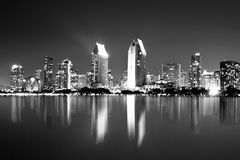 San Diego at Night. San Diego California skyline seen at night in black and white royalty free stock image