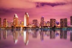 San Diego California sunset Skyline colorful stock photo