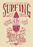 San diego California surf riders. Vintage graphic for boy t shirt royalty free illustration