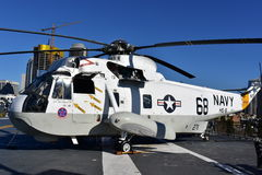 San Diego, California - USA - Dec 04,2016 - Navy Helicopter 68 USS Museum Royalty Free Stock Photo