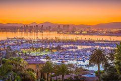 San Diego, California, USA Skyline. San Diego, California, USA downtown cityscape at dawn stock photography