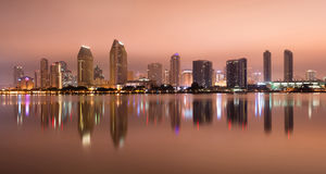 San Diego California West Coast United States. Downtown San Diego skyline water reflection midnight stock photography
