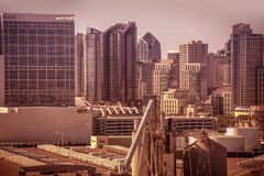 San Diego City. Scape, California, United States. San Diego Skyline Closeup royalty free stock image
