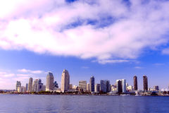 San Diego City Skyline along Harbor Royalty Free Stock Images