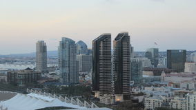 San diego city skyline time lapse day to early dusk stock footage