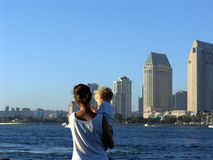 San Diego city view. Mother and son. View of San Diego harbor Royalty Free Stock Photography
