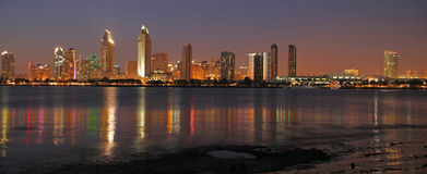 San Diego Cityscape Panoramic. This image was taken at dusk in San Diego, CA Royalty Free Stock Images