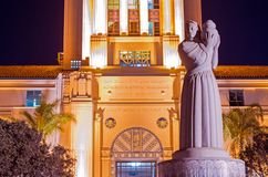 San Diego Civic Center. San Diego City and County Administration Building and Guardian of Water Sculpture Royalty Free Stock Photo