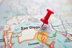 San Diego. Closeup of a map of San Diego, California with red pin Stock Photography