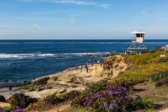 San Diego coast in a nice blue clear sky, California. Stock Photos