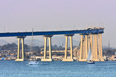 San Diego - Coronado Bridge. The distinctive curve and soaring sweep of the San Diego-Coronado Bridge was the first structural conquest of San Diego Bay, joining royalty free stock photo